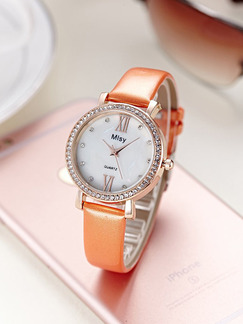 Orange Leather Band Rhinestone Quartz Watch