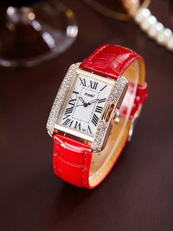 Red Leather Band Rhinestone Quartz Watch