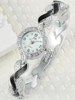 Silver and Black Silver Plated Band Bracelet Rhinestone Quartz Watch