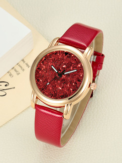 Red Leather Band Quartz Watch