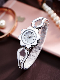 Silver and White Silver Plated Band Bracelet Rhinestone Quartz Watch