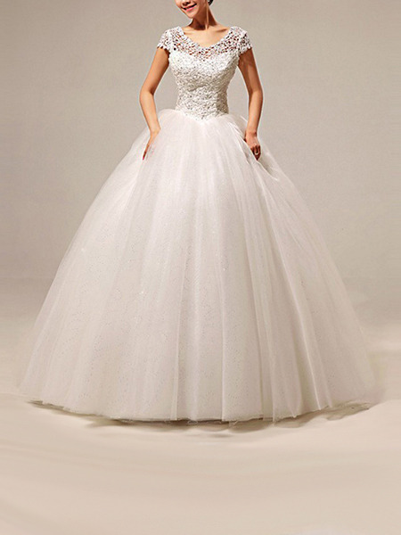 Wedding Dress For   Ph : White bateau ball gown embroidery beading dress for