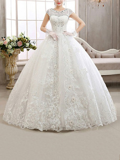 White Bateau Ball Gown Appliques Embroidery Beading Dress for Wedding
