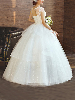White Bateau Illusion Ball Gown Beading Embroidery Dress for Wedding