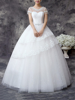 White Sweetheart Illusion Ball Gown Beading Tiered Embroidery Dress for Wedding