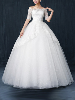 White Off Shoulder Ball Gown Embroidery Dress for Wedding