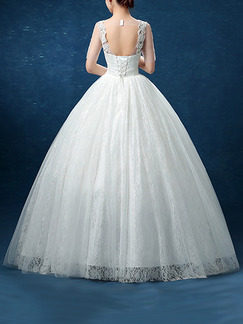 White V Neck Ball Gown Appliques Beading Embroidery Dress for Wedding