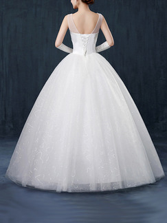 White Sweetheart Illusion Ball Gown Beading Embroidery Dress for Wedding