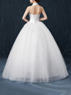 White Halter Ball Gown Beading Embroidery Dress for Wedding