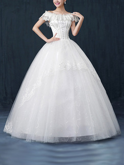 White Off Shoulder Ball Gown Beading Embroidery Dress for Wedding