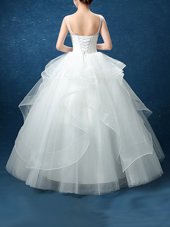 White Bateau Illusion Ball Gown Beading Embroidery Appliques Dress for Wedding