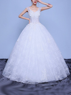 White V Neck Ball Gown Embroidery Appliques Dress for Wedding