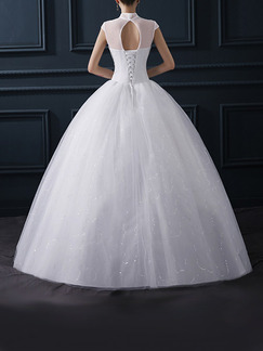 White Queen Anne Ball Gown Embroidery Appliques Beading Dress for Wedding