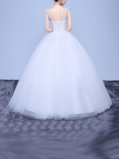 White Bateau Illusion Ball Gown Beading Dress for Wedding