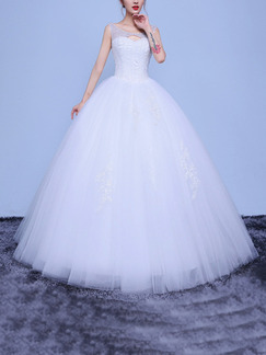White Bateau Ball Gown Embroidery Beading Dress for Wedding