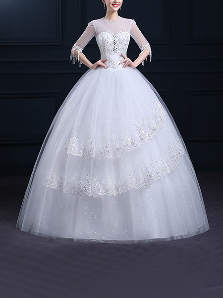 White Illusion Ball Gown Embroidery Beading Dress for Wedding