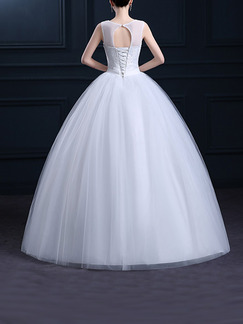 White Jewel Ball Gown Beading Embroidery Sash Dress for Wedding