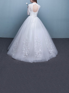 White High Neck Ball Gown Embroidery Beading Dress for Wedding