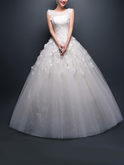 White Illusion Bateau Embroidery Appliques Beading Dress for Wedding