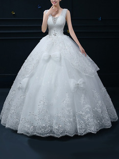White V Neck Ball Gown Beading Embroidery Ribbon Dress for Wedding