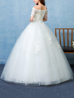White Off Shoulder Ball Gown Embroidery Appliques Beading Dress for Wedding