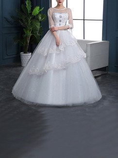 White Illusion Bateau Princess Beading Embroidery Tiered Dress for Wedding