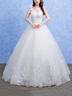 White V Neck Ball Gown Beading Embroidery Appliques Dress for Wedding