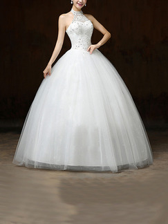 White Halter Illusion Ball Gown Beading Embroidery Dress for Wedding