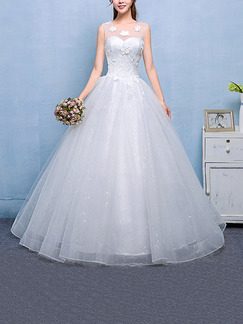 White Illusion Jewel Ball Gown Embroidery Appliques Dress for Wedding