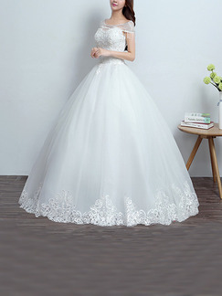 White Bateau Ball Gown Beading Embroidery Dress for Wedding