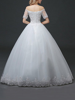 White Off Shoulder Ball Gown Embroidery Beading Dress for Wedding
