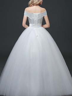 White Off Shoulder Ball Gown Sash Dress for Wedding