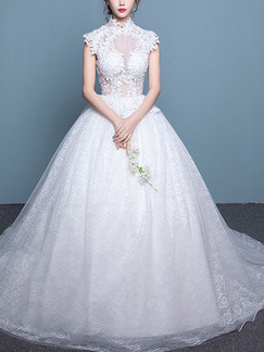 White High Neck Ball Gown Embroidery Dress for Wedding