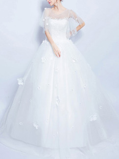 White Bateau Illusion Ball Gown Embroidery Appliques Beading Dress for Wedding
