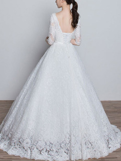 White V Neck Ball Gown Embroidery Sash Dress for Wedding