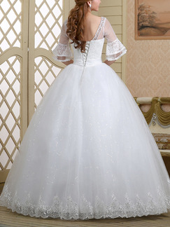 White Sweetheart Illusion Ball Gown Embroidery Beading Dress for Wedding