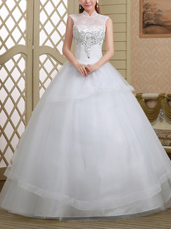 White High Neck Ball Gown Beading Embroidery Dress for Wedding