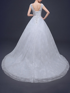 White V Neck Ball Gown Embroidery Beading Dress for Wedding
