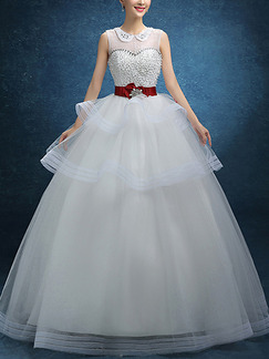 White Jewel Illusion Ball Gown Embroidery Beading Tiered Sash Ribbon Dress for Wedding
