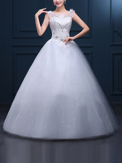 White Illusion Bateau Ball Gown Embroidery Beading Appliques Dress for Wedding