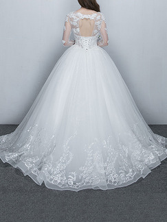 White Illusion Ball Gown Beading Embroidery Dress for Wedding