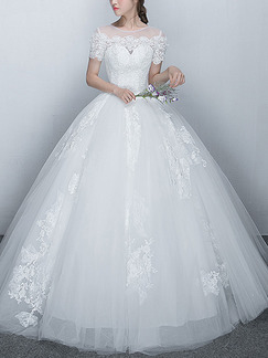 White Illusion Bateau Ball Gown Embroidery Beading Dress for Wedding