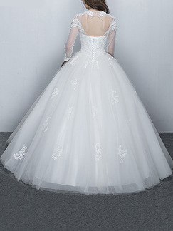 White Illusion Jewel Ball Gown Embroidery Beading Dress for Wedding