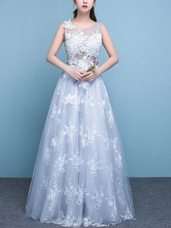 White and Blue Illusion Bateau A-Line Beading Appliques Embroidery Dress for Wedding