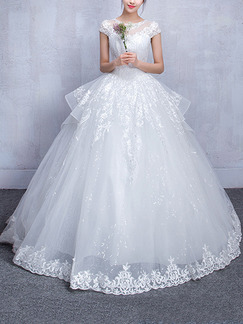 White Bateau Ball Gown Embroidery Beading Tiered Dress for Wedding