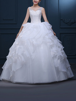 White V Neck Ball Gown Beading Ruffle Dress for Wedding