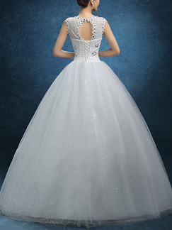 White V Neck Ball Gown Beading Embroidery Dress for Wedding