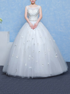 White Bateau Illusion Ball Gown Embroidery Beading Appliques Dress for Wedding