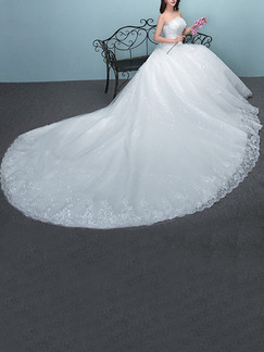 White Strapless Ball Gown Beading Embroidery Ribbon Appliques Dress for Wedding