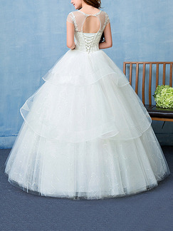 White Bateau Illusion Ball Gown Embroidery Beading Dress for Wedding
